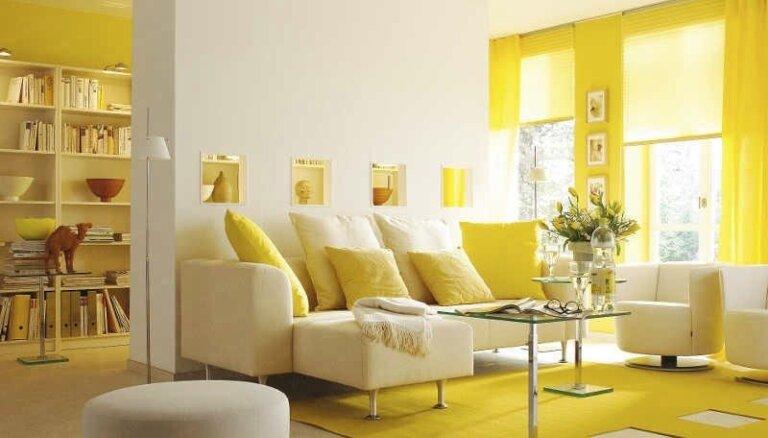 Foto izlase: Dzeltenā krāsa interjerā