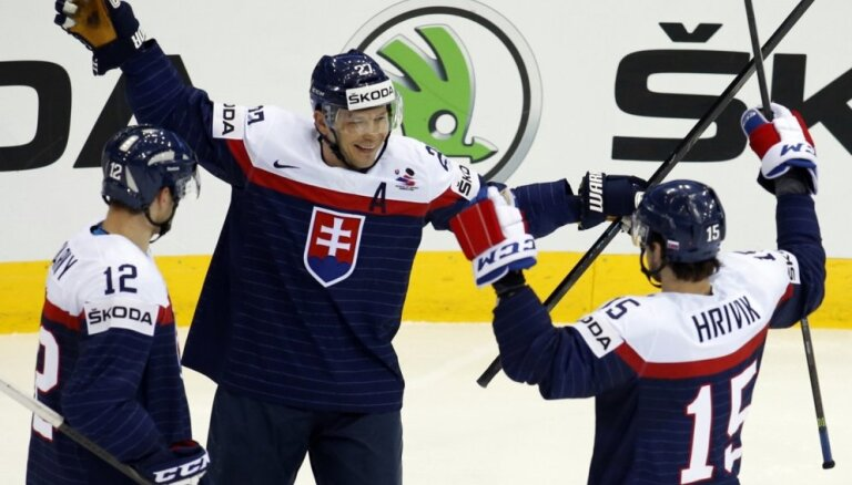Pasaules čempionāta pastarīte Slovākija izcīna pirmo uzvaru
