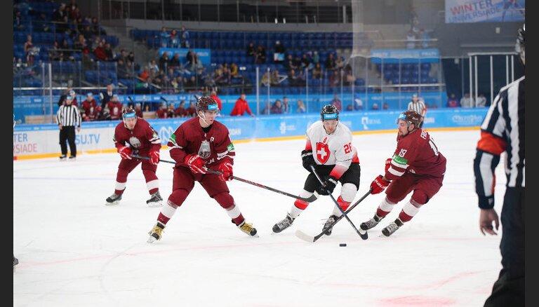 Latvijas hokeja izlase uzsāk Universiādi ar uzvaru pret Šveici