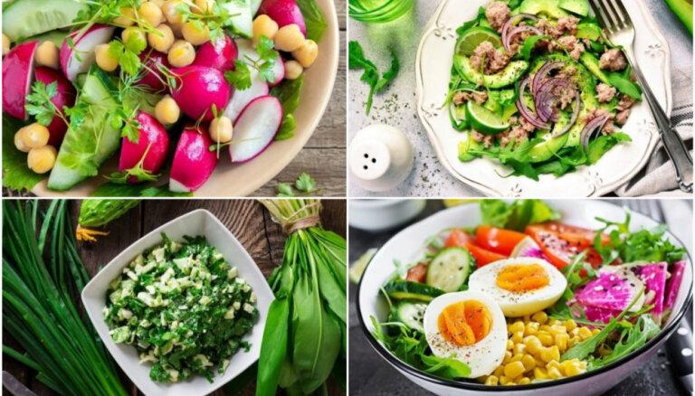 Pavasarīgi salāti bez majonēzes un treknām mērcēm: 30 figūrai draudzīgas receptes