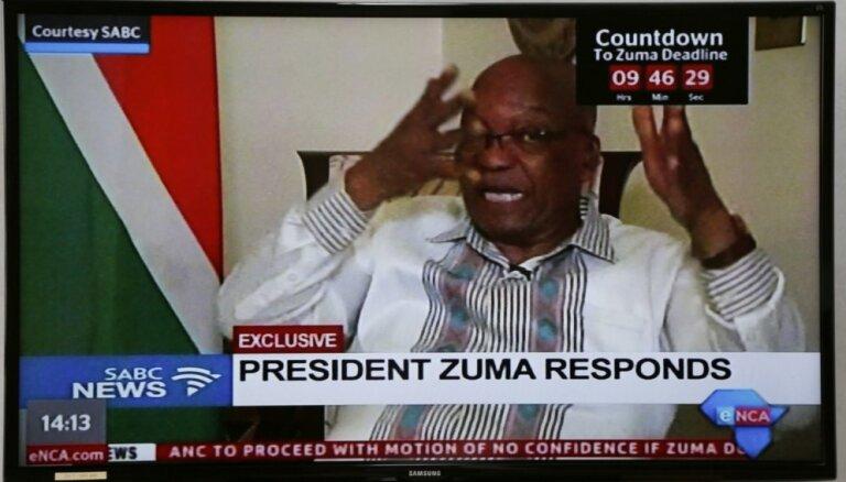 'Es neesmu izdarījis neko nepareizu': Zuma atsakās atkāpties no amata