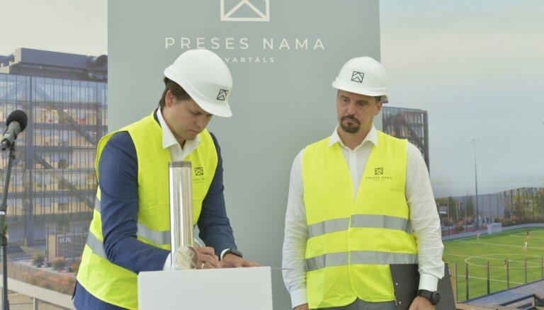 ФОТО: Началось строительство первой очереди делового квартала Preses nama kvartāls