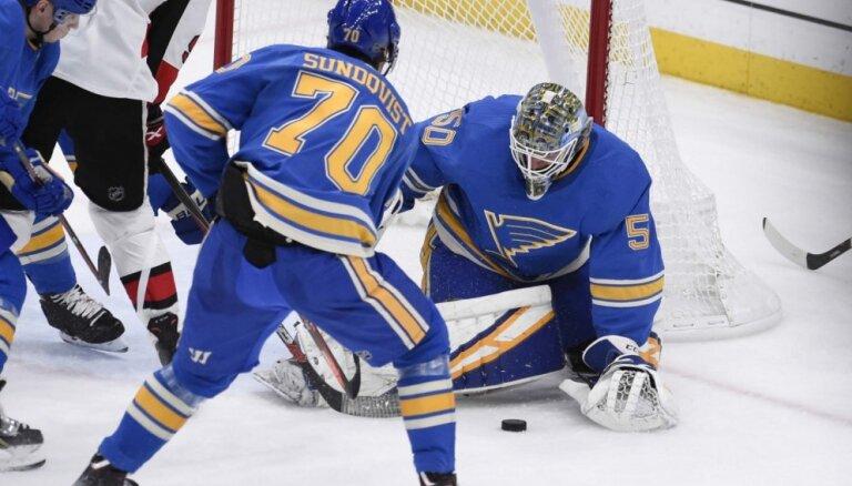 'Senators' NHL mačā zaudē 'Blues' hokejistiem