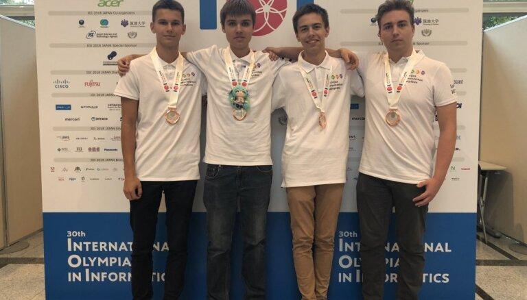 Latvijas skolēni izcīna četras bronzas medaļas pasaules informātikas olimpiādē