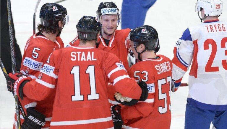 Kanādas hokeja izlase 'pārbrauc pāri' Norvēģijas valstsvienībai
