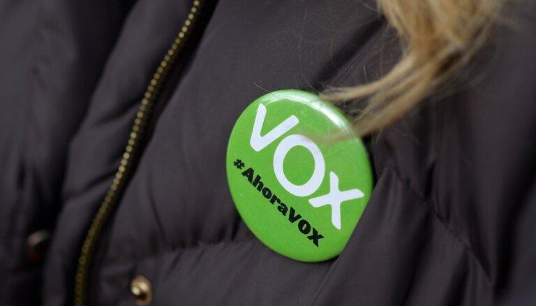Spānijā pieaug galēji labējās partijas 'Vox' popularitāte