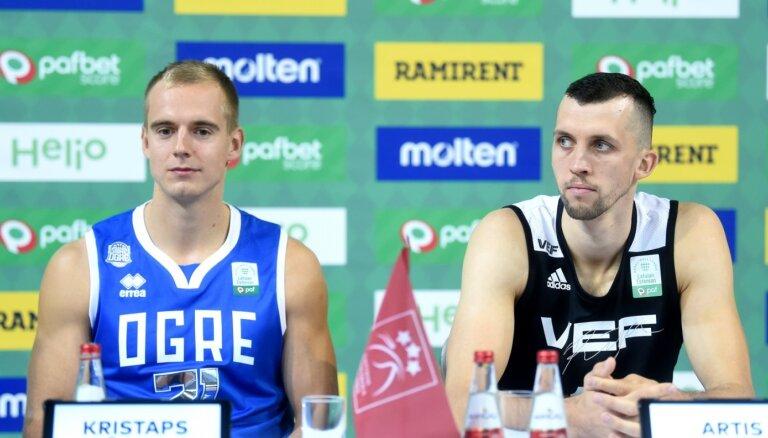 Latvijas vadošo basketbolu klubu duelī uzvaru svin 'VEF Rīga'