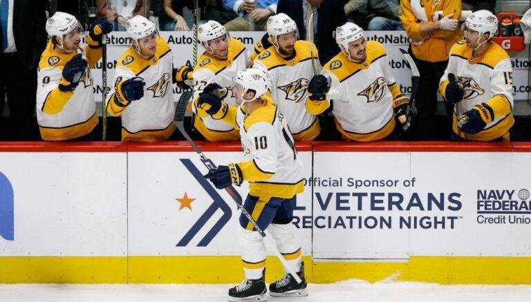NHL čempionāts: Nešvilas 'Predators' pagarina izcilo izbraukuma tūri, Malkins gandrīz 'izslēdz' Ošī