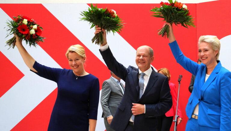 Vācijas Bundestāga vēlēšanās uzvar SPD