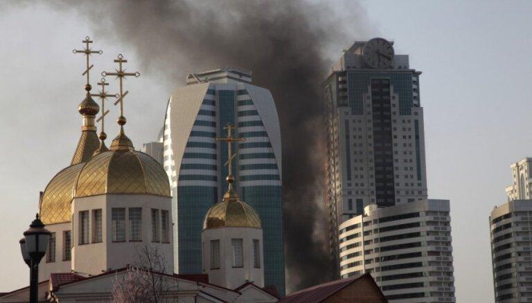 В Грозном горело здание комплекса, где находится квартира Депардье