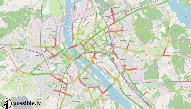 Vizualizācija: Kā kartē izskatās pamatīgie ceturtdienas sastrēgumi Rīgā