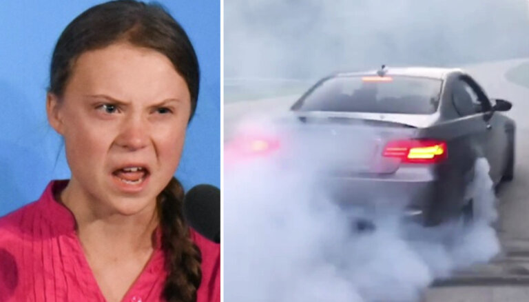 ВИДЕО: Латвийские автолюбители оставили видеопослание Грете Тунберг