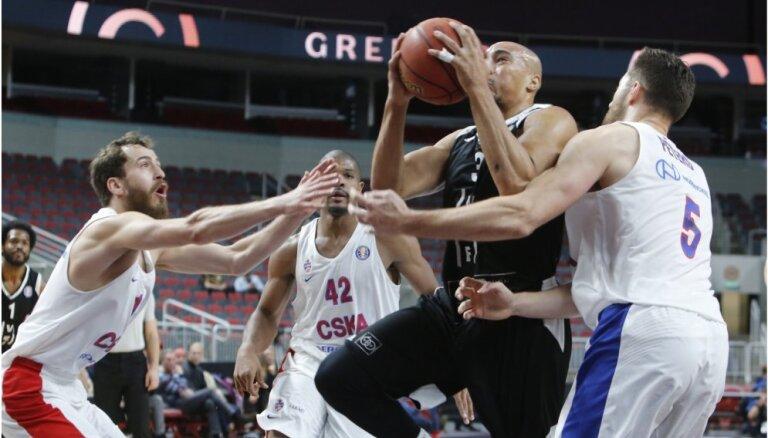 'VEF Rīga' pārliecinoši zaudē CSKA basketbolistiem