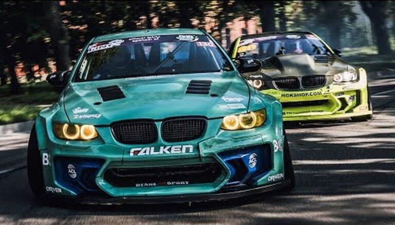 Video: Liepājas ostā iespaidīgs Bluša un čempiona Dīna BMW drifta tandēms