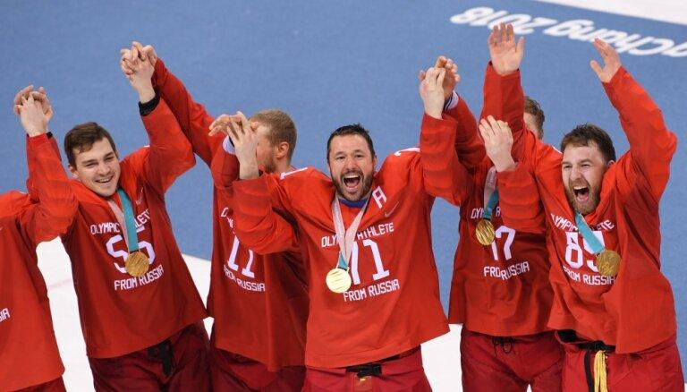 МОК защитил российских хоккеистов, спевших запрещенный гимн РФ на церемонии награждения
