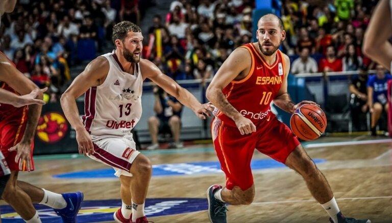 Latvijas izlasei mačā ar Spāniju jāiztiek bez Eirolīgas spēlētājiem