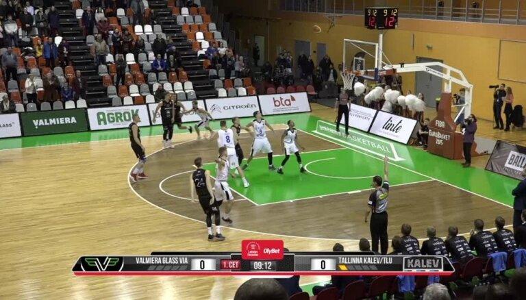 'OlyBet' basketbola līga: 'Valmiera glass/ViA' - 'Kalev/TLU'. Spēles labākie momenti