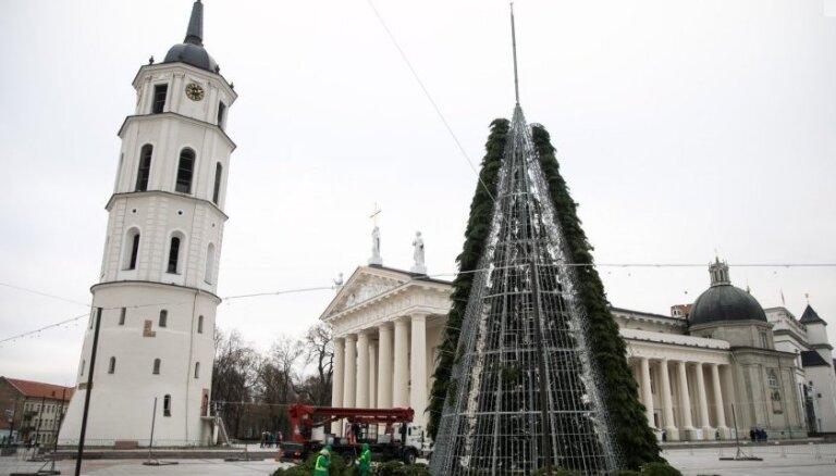 Foto: Viļņā poš pilsētas galveno svētku egli
