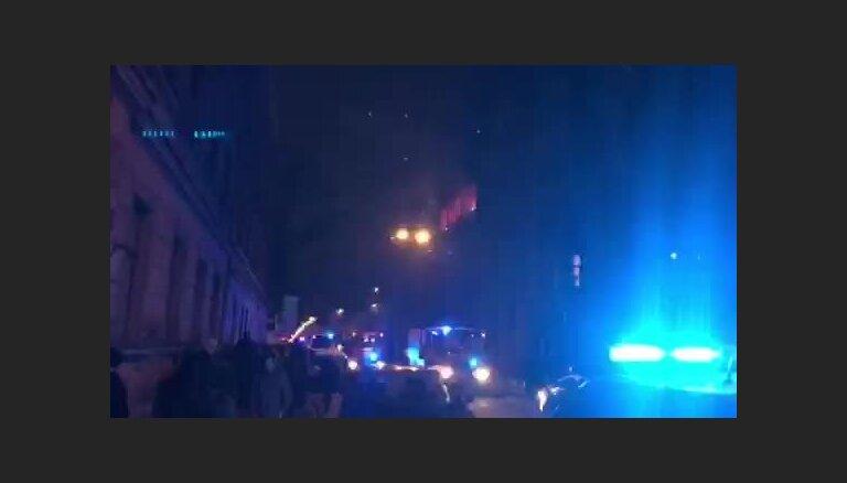 Stabu ielā Rīgā izcēlies ugunsgrēks