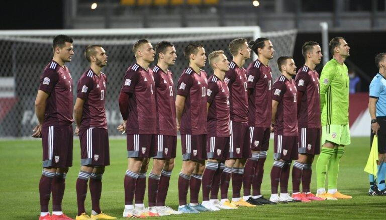 Latvijas futbolisti aizvada pārbaudes spēli izbraukumā ar Sanmarīno