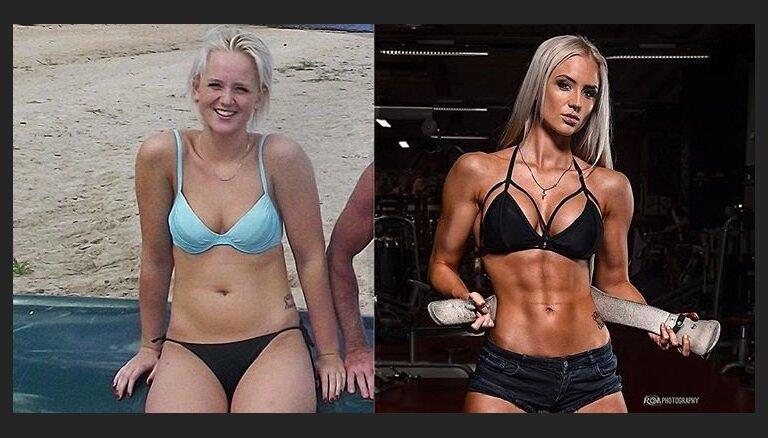 ФОТО. Латвийская фитнес-модель показала, какой была до того, как начала заниматься спортом
