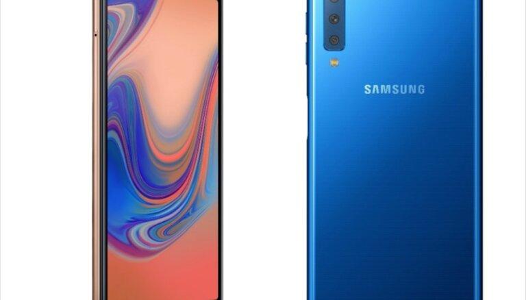 'Samsung' prezentējis jauno 'A7' viedtālruni ar trīs objektīvu kameru