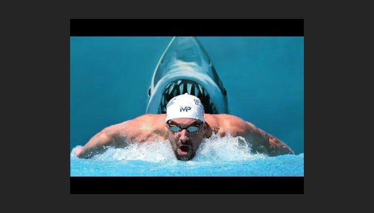 Майкл Фелпс проиграл заплыв на 100 метров большой белой акуле