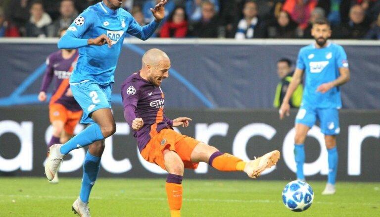 'City' ielaiž vārtus 44. sekundē un atspēlējas pret 'Hoffenheim'; 'Juventus' uzvar bez Ronaldu