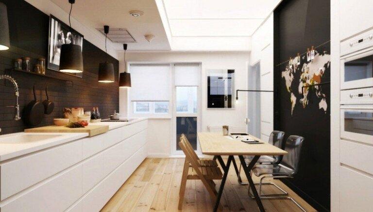 Arī melnbalts var būt mājīgs - interesants dzīvoklis 'vecpuisim'