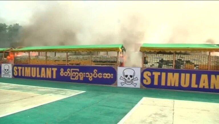 Video: Mjanmā sadedzina 343 miljonus eiro vērtas narkotikas