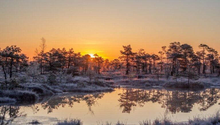 Maģiski foto: Dzestrs pavasara rīts Lielajā Ķemeru tīrelī