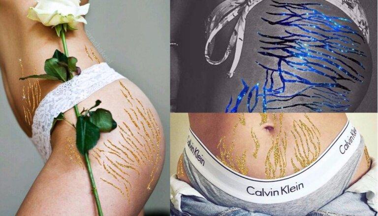 ФОТО: женщина использует блеск, чтобы превратить растяжки в искусство