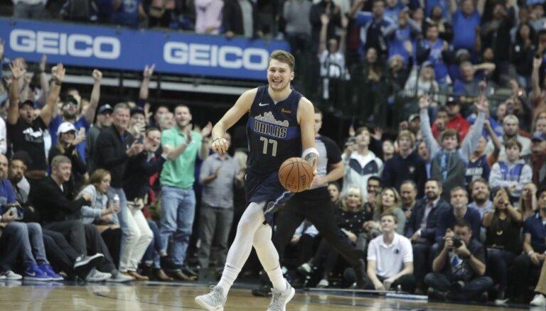 Video: Slovēņu brīnumbērnam Dončičam nedaudz pietrūkst līdz NBA rekordam
