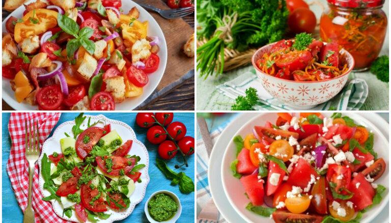 Tomātu salāti bez majonēzes un treknām mērcēm: 17 figūrai draudzīgas receptes