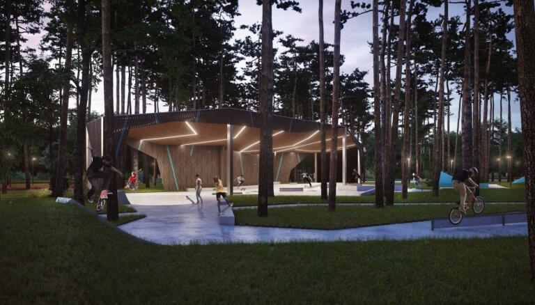 Kauguru parkā Jūrmalā sāk Jauniešu mājas būvniecību