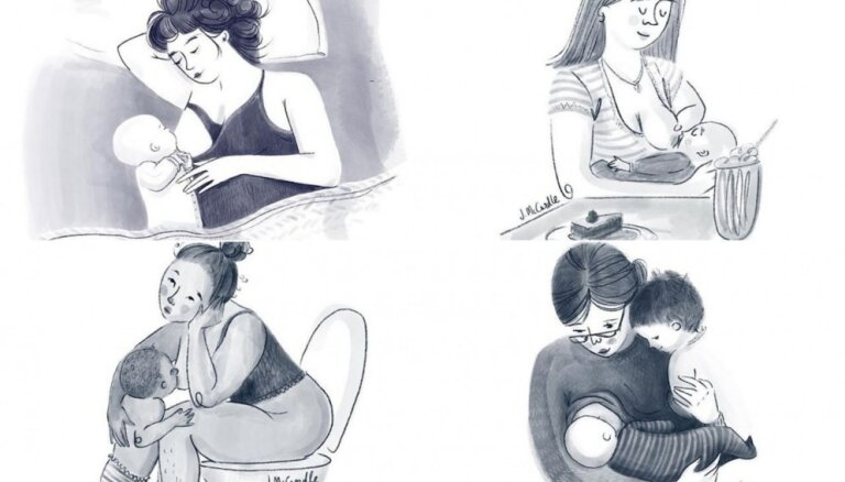 Mamma un māksliniece projektā '100 krūtsbarošanas dienas' attēlo mazuļa zīdīšanas procesu