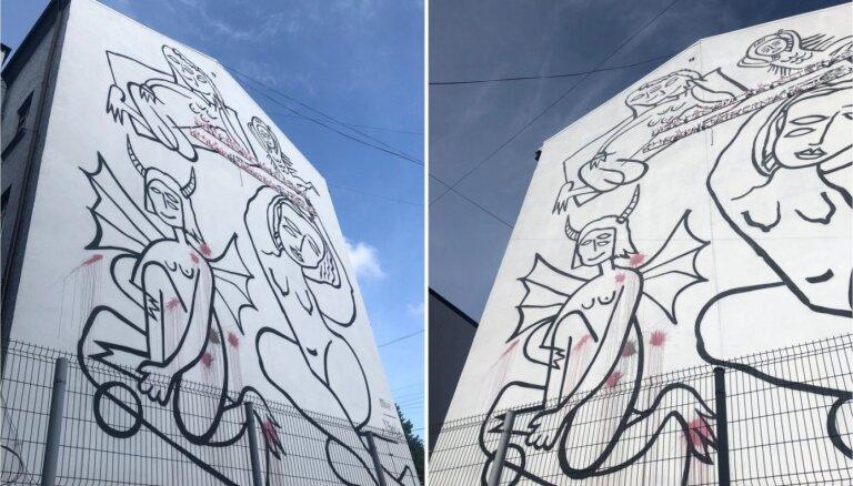 Naktī uz 1. septembri sabojāts Brektes sienas gleznojums Akas ielā