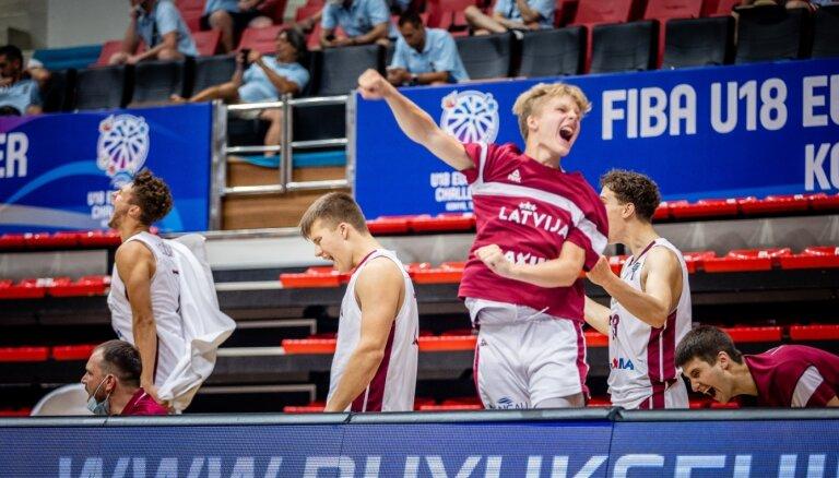 Latvijas U-18 basketbolisti pēc smagajiem zaudējumiem pārspēj Krieviju
