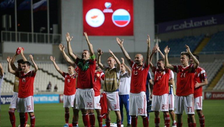 Krievijas futbolisti nodrošina ceļazīmi uz Eiropas čempionāta finālturnīru