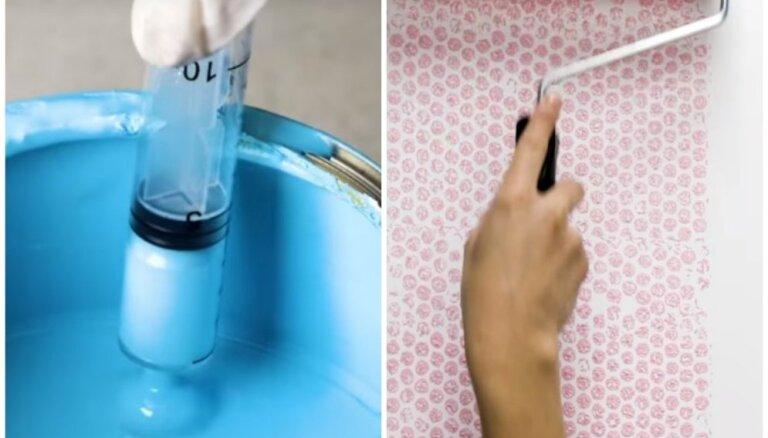 Ar burbuļplēvi, šļircēm vai švammi: radošas idejas neparastam sienu krāsojumam