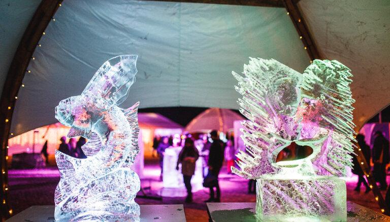 ФОТО: На Фестивале ледовых скульптур в Елгаве победил литовский скульптор