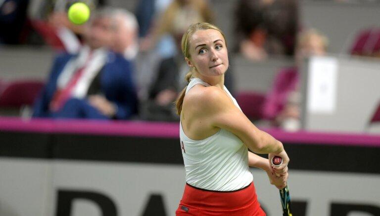 Marcinkēviča sīvā Strasbūras WTA turnīra pirmās kārtas cīņā zaudē Gavrilovai