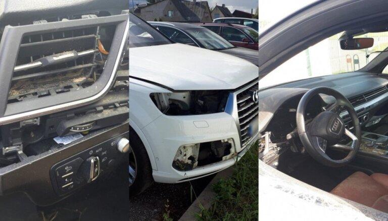 ФОТО. Каунас: на стоянке у аэропорта разграбили Audi Q7, ущерб - 40 000 евро