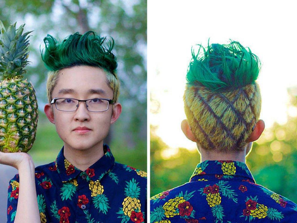 Мужская прическа ананас