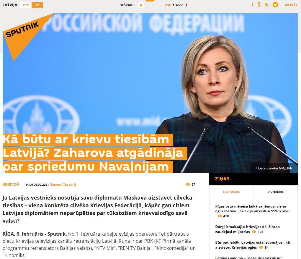 """Ekrānuzņēmums no """"sputniknewslv"""""""