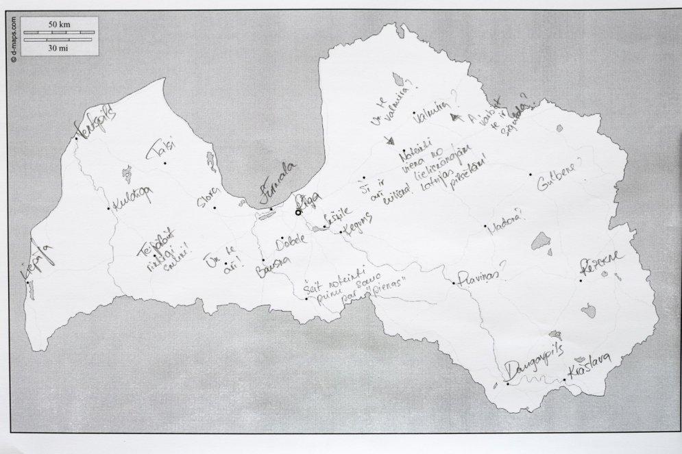 Eksperiments: Vai latvieši prot kartē iezīmēt Latvijas pilsētas